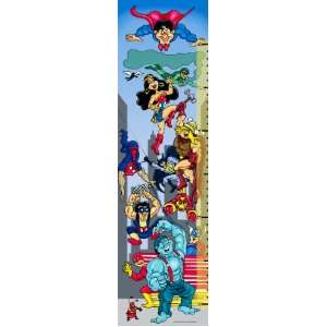 Personalized Canvas Growth Chart Cartoon Superheros in the City