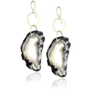 Melissa Joy Manning Sand 14k Gold Occo Agate Earrings: Jewelry