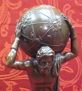 Deco Bronze Marble Sculpture Statue Figure Greek Titan Atlas