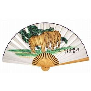Classic 20 Oriental Feng Shui Wall Fan double Elephants