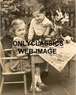 1920s CUTE LITTLE GIRL & BOY TEA PARTY  BIRTHDAY PHOTO