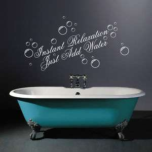 JUST ADD WATER BATHROOM WALL ART STICKER DECAL QUOTE