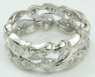 Beautiful Ornate 14KW Gold Diamond Band Ring Sz 6.75