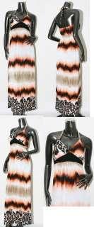 New sexy leopard halter maxi long dress Sz S M 2 4 6