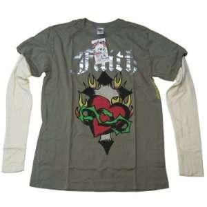 New Ed Hardy Men Shirt Faith Color Olive