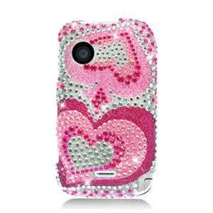 PINK HEART BLING HARD CASE FOR HUAWEI M735 PROTECTOR SNAP ON COVER