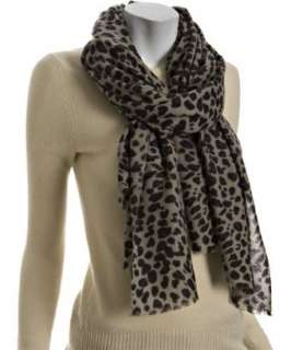 Kashmere purple and grey leopard print cashmere fringe scarf