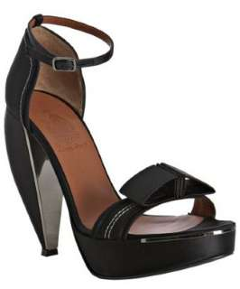 Lanvin black satin geometric bow tie sandals