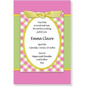 Girl Baby Shower Invitations   Pink & Green Scene Plaid Bow Invitation