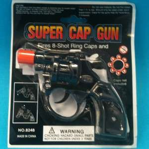 TOY PLASTIC SUPER CAP GUN 5 FIRES 8 SHOT RING CAPS NEW IN PACKAGE