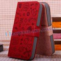 Red Cute Leather Pouch Skin Case Cover Holster for Apple iphone 4 4S