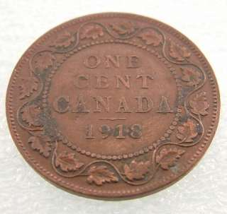 1918 Canada Canadian PENNY 1 one CENT LARGE cent COIN