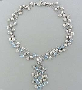 MARCO BICEGO 18K WHITE GOLD AQUAMARINE DIAMOND MULTI STRAND NECKLACE
