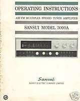 SANSUI 3000A AM/FM Muliplex Sereo uner Insrucion Manual |