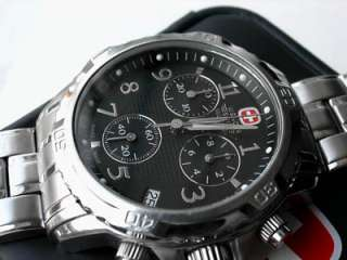 WENGER GENUINE SWISS ARMY MILITARY GST CHRONOGRAPH WATCH MENS BLACK