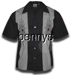 NEW Spider Web Biker Work Shirt, Hard Chrome, L
