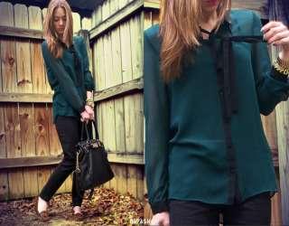 Vintage Peter Pan Collar Soft Touch Tops Blouse Green Shirt similar