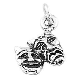 Silver One Sided Drama Theatre Comedy Tragedy Mask Charm Jewelry