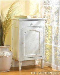 white wood bathroom cabinet cottage chic nightstand end table