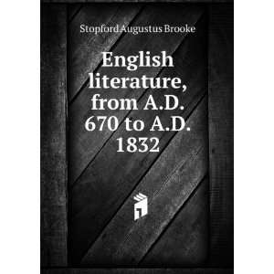 English Literature. MA REV. STOPFORD BROOKE Books
