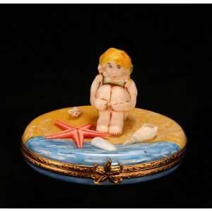 Girl At the Beach French Porcelain Limoges Box