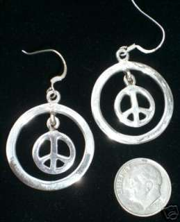 Large SILVER Peace Sign Symbol Hoop Earrings Jewelry