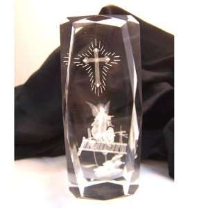 Laser Art Crystal with Jesus Watching Over Children Crossing Bridge