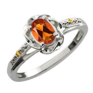 Orange Red Madeira Citrine Yellow Citrine 10K White Gold Ring Jewelry