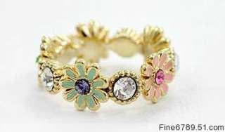 Lots 12Pcs Fashion Flower Plastic Bead Metal Rings