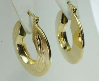 YELLOW GOLD FLOWER DESIGNED HOOP HOOPS ESTATE EARRINGS J202052