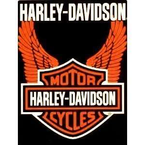 Orange Harley Davidson Twin Size Super Plush Throw Blanket
