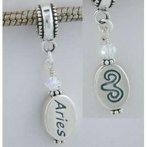 Aries Crystal Zodiac Sterling Silver Dangle Charm