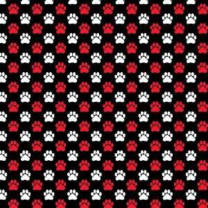 DOG PAWS PATTERN BLACK, RED & WHITE Vinyl Decal Sheets 12