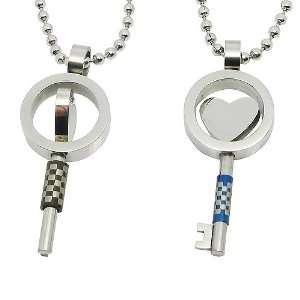 Fashion Key shape Rotating Stainless Steel Pendant Necklaces (Lovers