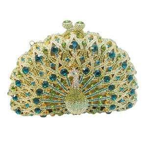 Glitzy Bird Peacock Evening Bag Green Crystal Peafowl Handbag Purse