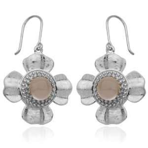 Sterling Silver White Crystal Flower Wire Earrings