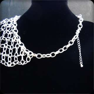 Designer Inspired Silver Tone Chain Bib Statement Necklace