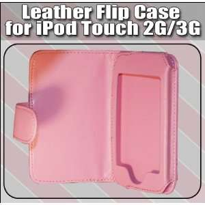Premium Pink Folio Wallet Leather Case for Apple Ipod