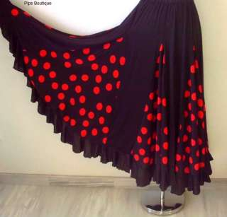 Spanish Flamenco dance skirt, black & red, 24 36 waist