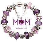 Mothers day gift purple silver charm Bracelet Shamballa G01 all size