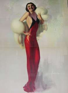 PIN UP CALENDAR STREAMLINED ART DECO GLAMOUR LADY FAIR LARGE