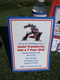 Transformers Birthday Invitation Favor Tag Water Candy