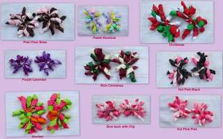 Pc Korker Curly Bow Pair Clip Holiday Piggy Tail Pony Girl Toddler
