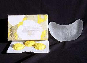 Avon Flowerfrost Collection Crescent Plate and 3 Soaps