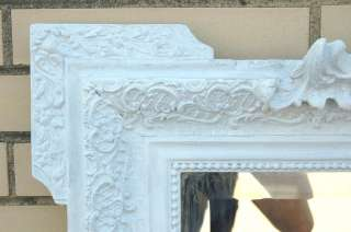 LARGE ANTIQUE FRENCH COUNTRY PAINTED BEVELED MIRROR