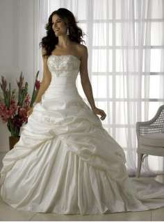 Stock Wedding White/Ivory Bridal Prom Gown Bride Dress Sz*6 8 10 12 14