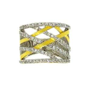 Sterling Silver 925 Gold Plated Wide Lattice Pattern Sparkling Clear