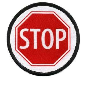SERVICE DOG Red STOP SIGN Symbol 3 inch Black Rim Round