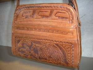 VINTAGE HAND TOOLED LEATHER PURSE LEATHER POCKETBOOK W/ EAGLE FRONT
