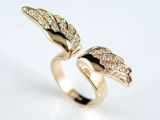 Angel Wing Rose Gold P Ring use Swarovski Crystal SR067